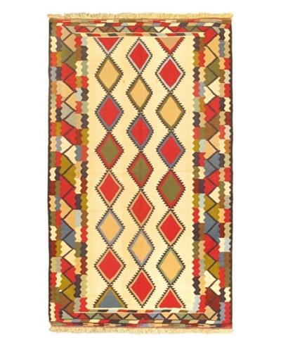 Hand-Woven Tribal Gabbeh Traditional Kilim Rug, Cream, 4' 9 x 8'