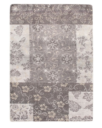 Eternity Gabbeh Modern Silk Rug, Grey, 5' 4 x 7'6