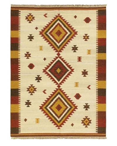 Hand Woven Kashkoli Wool Kilim, Cream, 5' 7 x 7' 10