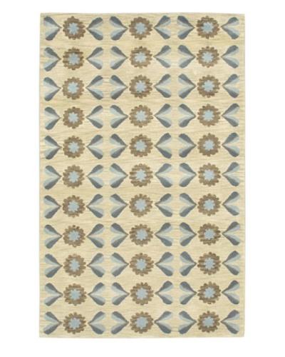Handmade Athina Rug, Cream/Light Blue, 5' x 8'