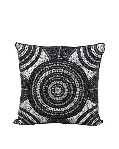 Joseph Abboud Bullseye Pillow, Black/Silver, 16 x 16