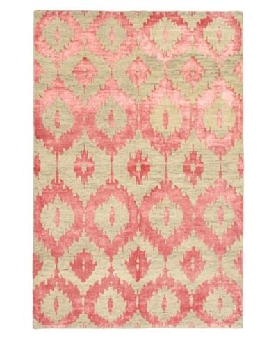 Hand-Knotted Mystique Gabbeh Modern Rug, Khaki/Pink, 5' 1 x 7' 9