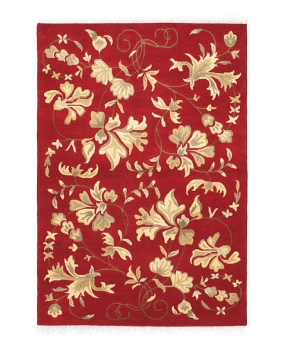 "Hand-Knotted Aurora Rug, Dark Red, 4' 2"" x 6'"