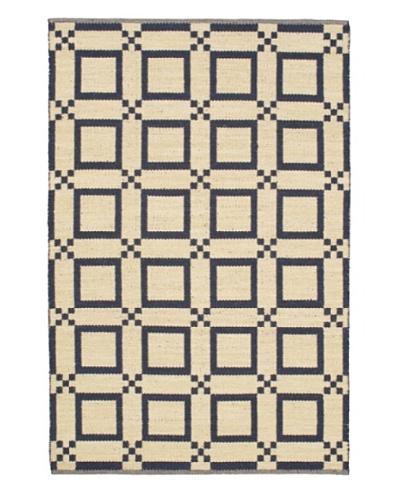 Hand Woven Natural Plush Wool Flatweave Kilim, Cream/Dark Navy, 5' 1 x 7' 7