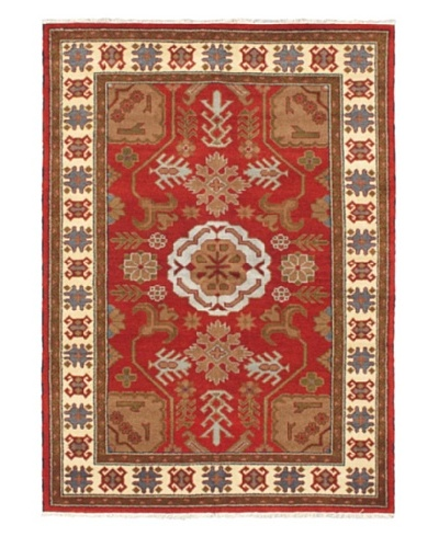 Hand-Knotted Royal Kazak Wool Rug, Dark Red, 5' 8 x 8'