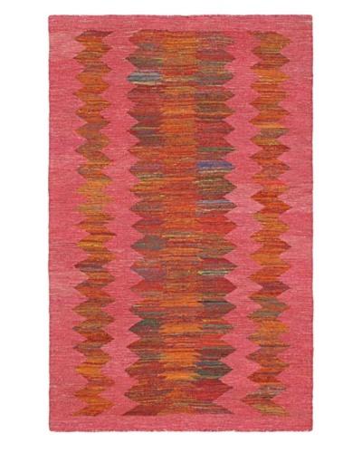 Hand Woven Silky Allure Modern Flatweave Kilim, Dark Pink, 4' 11 x 7' 10