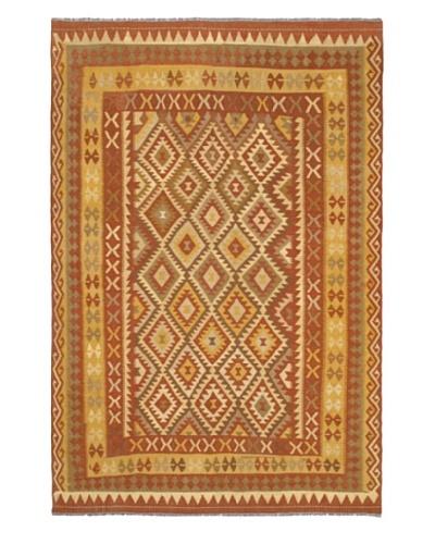 Hand Woven Anatolian Wool Kilim, Copper, 6' 6 x 9' 10