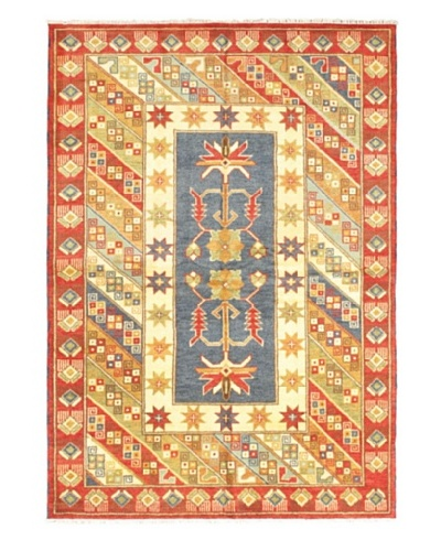 Hand-Knotted Royal Kazak Rug, Cream/Red, 5' 9 x 8' 2