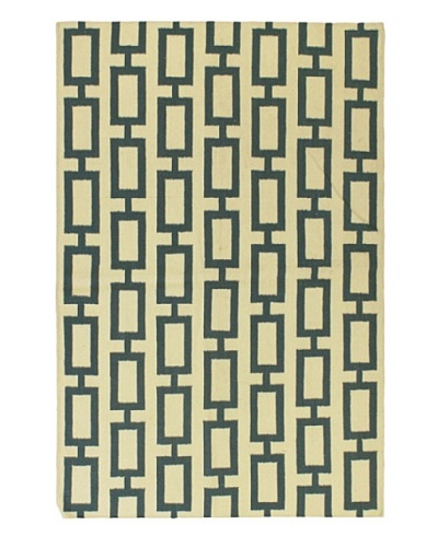 "Hand Woven Natural Wool Flatweave Kilim, Cream, 5' 3"" x 7' 7"""