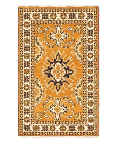 Hand-Knotted Royal Kazak Rug, Light Orange, 3' 2 x 5' 1