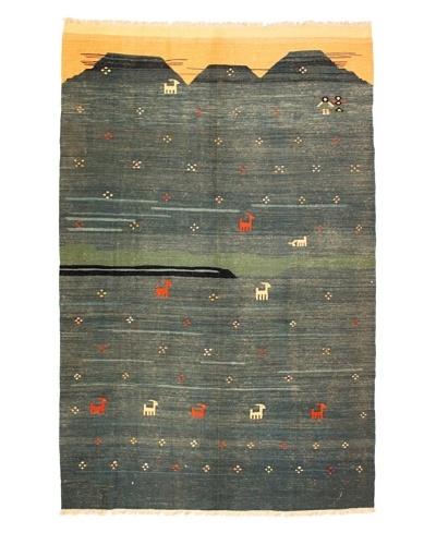 Kilim Rug, Blue/Green/Salmon
