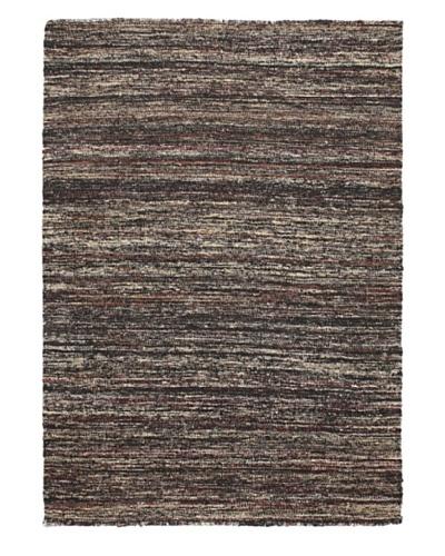 Hand Woven Silky Allure Modern Flatweave Kilim, Brown, 4' 7 x 6' 7