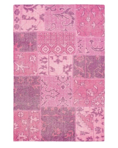 Hand-Knotted Ushak Patch Wool Rug, Pink, 4' 1 x 6' 1