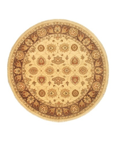Hand-Knotted Chobi Twisted Oriental Rug, Beige, 8' 2 Round
