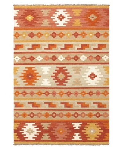 Hand Woven Izmir Wool Kilim, Brown/Orange, 4' 2 x 6'