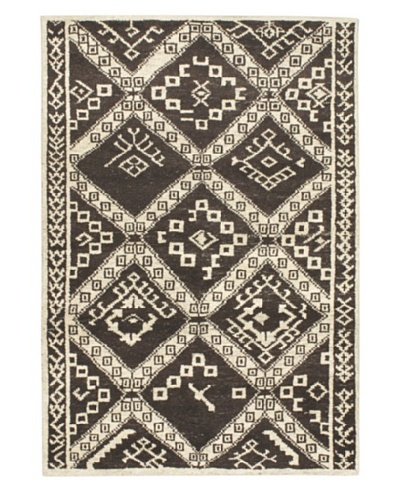 Hand-Knotted Himalaya Gabbeh Wool Rug, Black Yellow/Cream, 4' x 5' 1