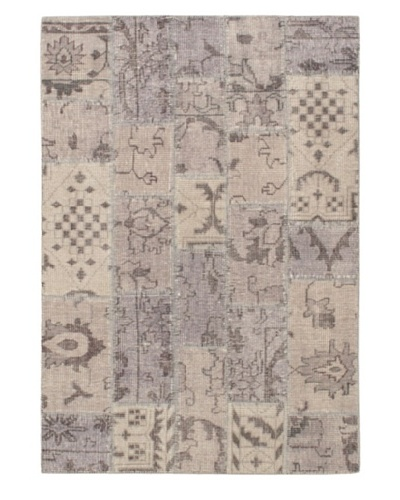 Hand-Knotted Ushak Rug, Light Gray, 4' 7 x 6' 7