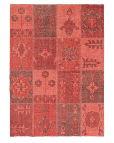 """Hand-Knotted Ushak Patch Wool Rug, Red, 4' 7"""" x 6' 6"""""""
