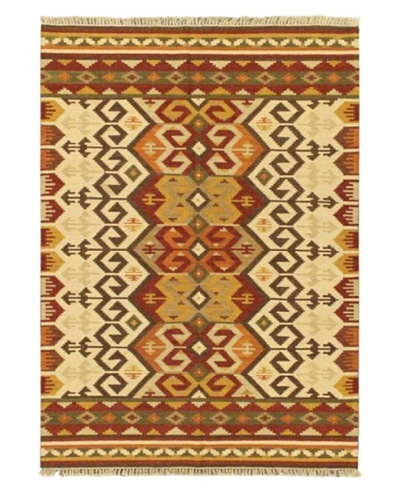 Hand Woven Ankara Wool Kilim, Beige, 5' 7 x 7' 10