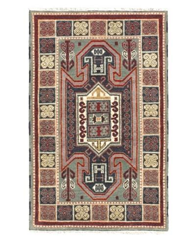 Hand-Knotted Royal Kazak Rug, Navy/Teal, 3' 1 x 5' 1