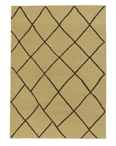 Hand Woven Natural Wool Flatweave Kilim, Beige, 4' 7 x 6' 7