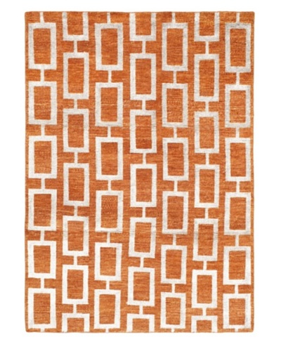 Hand-Knotted Mystique Gabbeh Modern Rug, Copper, 5' 3 x 7' 4