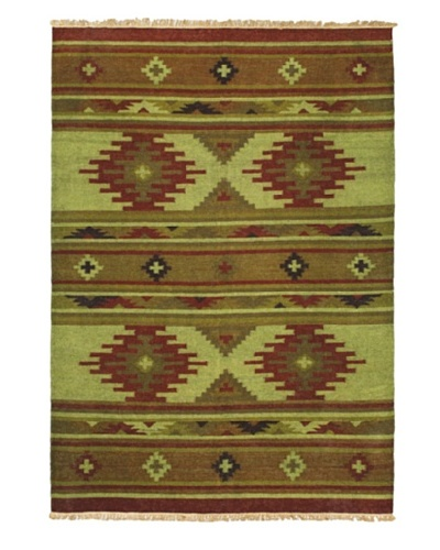 """Lahor Finest Traditional Kilim, Light Green, 4' 1"""" x 5' 10"""""""