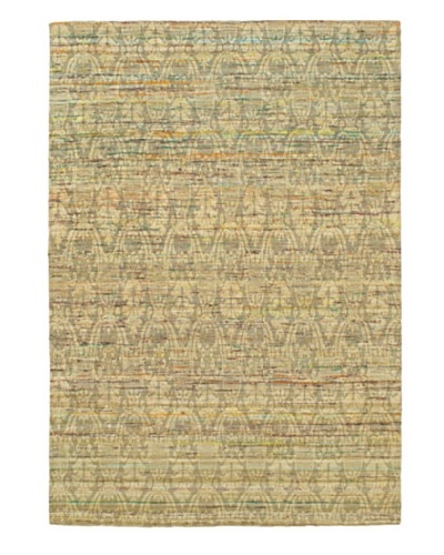 "Handwoven Fab Dhurrie, Light Gold, 4' 7"" x 6' 7"""