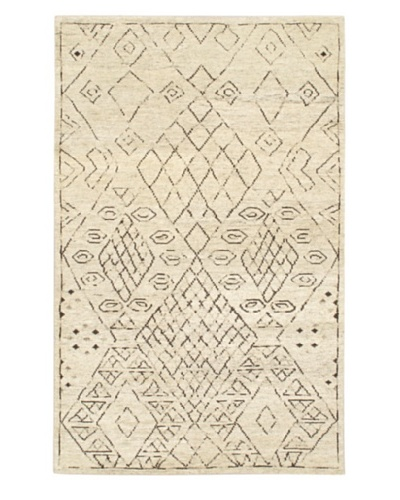 Hand-Knotted Mystique Gabbeh Wool Rug, Cream, 5' x 8'