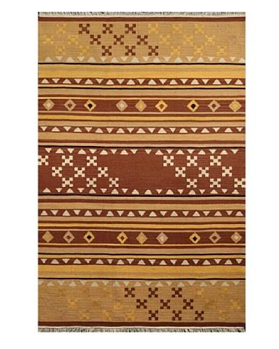 Hand Woven Esme Wool Kilim, Brown/Light Brown/Multi, 5' x 8'