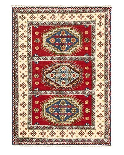 Hand-Knotted Royal Kazak Wool Rug, Red, 5' 9 x 8'