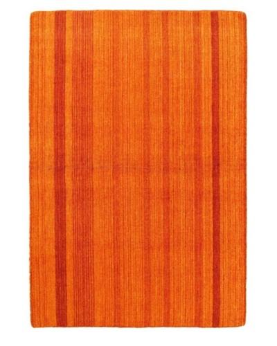 Hand-Knotted Luribaft Gabbeh Riz Rug, Orange, 4' x 6'