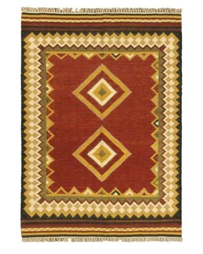 Hand Woven Ankara Wool Kilim, Red, 4' 7 x 6' 7