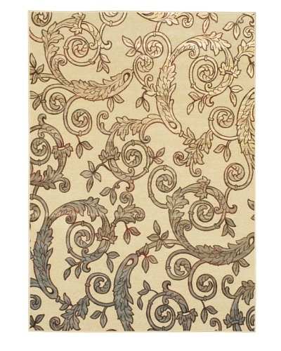 "Flores Rug, Cream/Light Blue, 5' 3"" x 7' 5"""