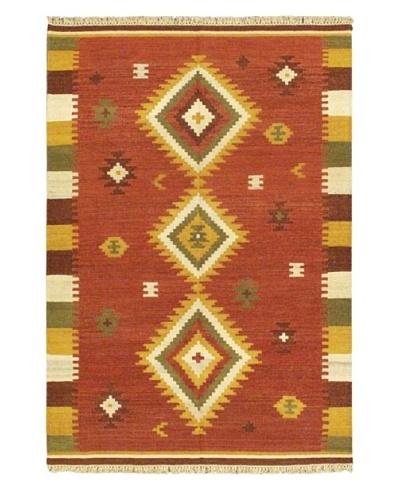 Hand Woven Kashkoli Wool Kilim, Dark Red, 4' 7 x 6' 7