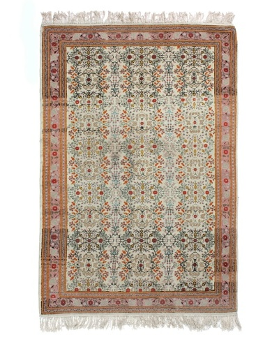 Semi Antique Kashan Rug, Pink/Blue/Cream, 7' 3 x 4' 8