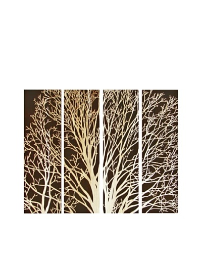 Set of 4 Spring Tree Wall Décor, Brown