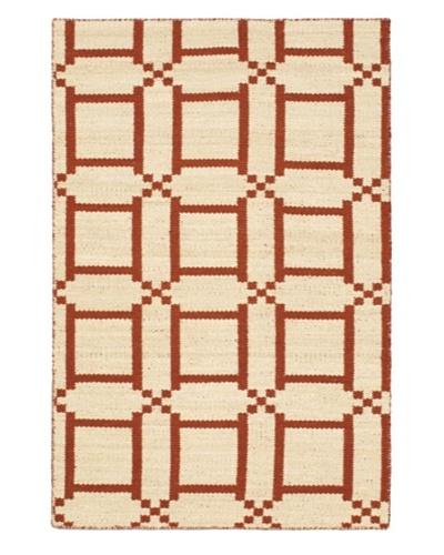 Hand Woven Natural Plush Wool Flatweave Kilim, Cream/Dark Copper, 3' 11 x 5' 11