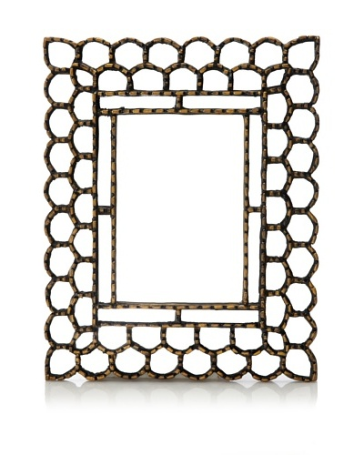 Reverse-Painted Glass Rectangular Mirror, Gold Trimmed
