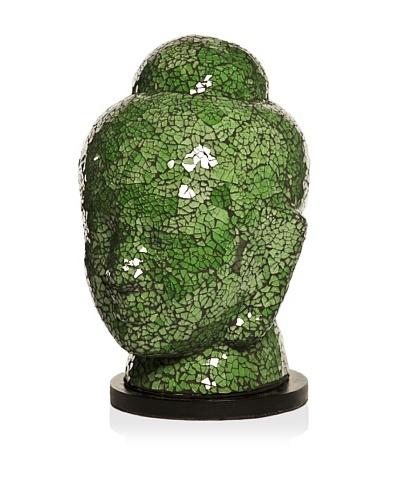 Bembe Mosaic Glass Buddha Head Lamp, Green, Large