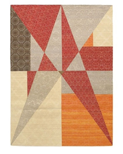 "Collage Transitional Dhurrie, Dark Red/Grey, 5' 7"" x 7' 9"""