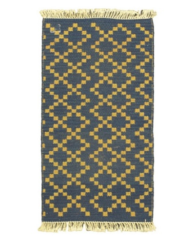 Hand Woven Natural Plush Kilim, Navy, 2' x 3' 3 Runner
