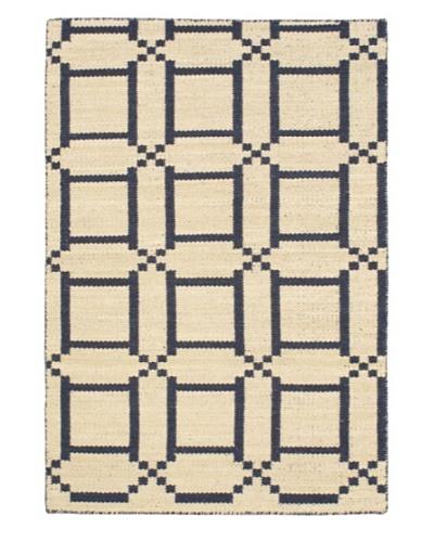 "Hand Woven Natural Plush Wool Flatweave Kilim, Cream/Dark Navy, 3' 11"" x 5' 11"""