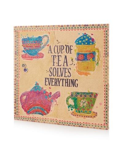 "Maia Farrell ""A Cup of Tea"" Giclee on Cork Board"