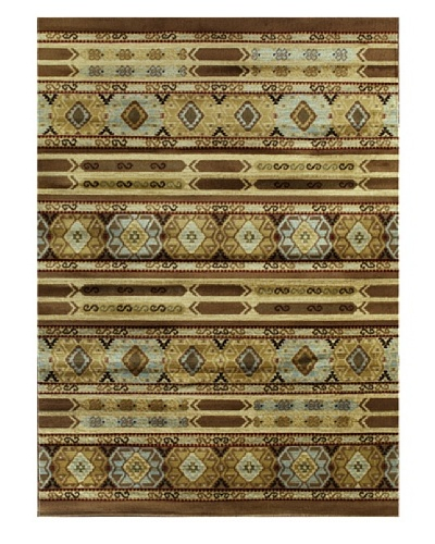Ikat Tribal Modern Rug, Brown, 5' 5 x 7' 8