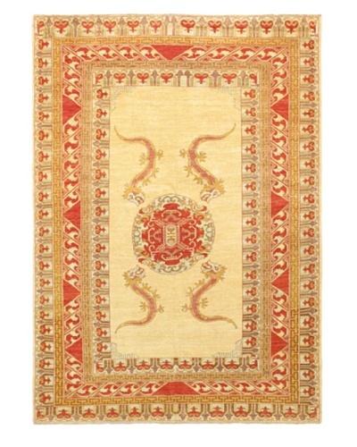 Hand-Knotted Chobi Traditional Rug, Light Yellow, 7' 3 x 10'