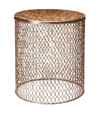 Wire End Table, Dark Brown