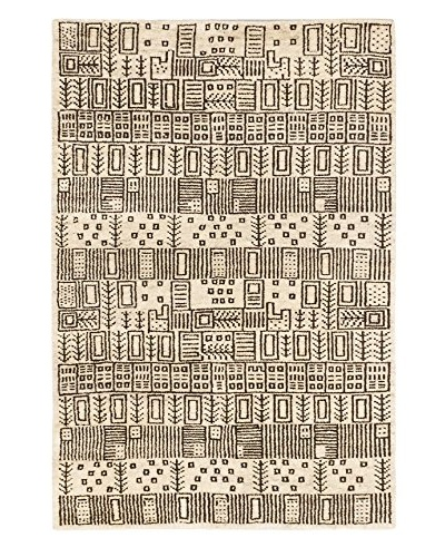 """Hand-Knotted Royal Maroc Wool Rug, Cream, 4' x 5' 10"""""""