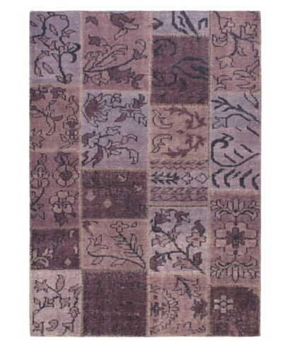 Hand-Knotted Ushak Patch Wool Rug, Purple, 4' 7 x 6' 6