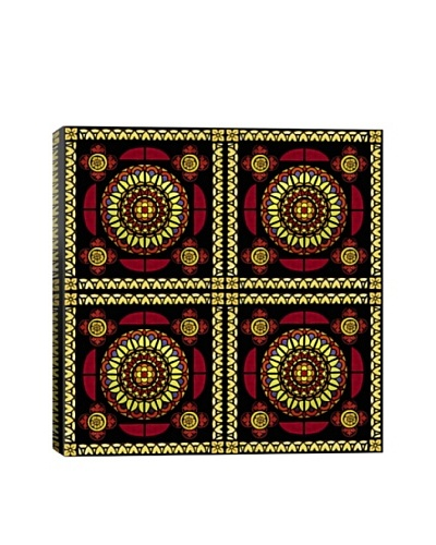 Royal Red Stained Glass Quadric Giclée On Canvas